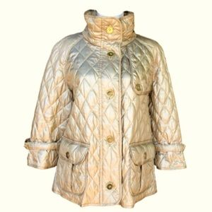 Burberry champagne quilted car coat